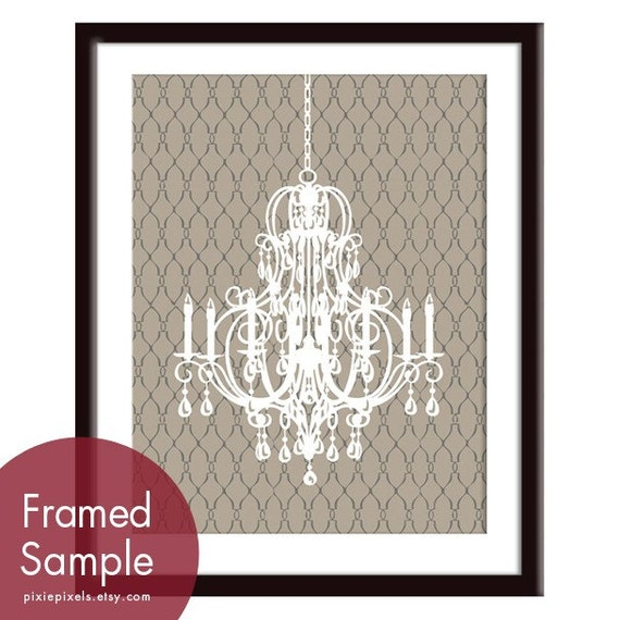 Rustic Italian Chandelier - Art Print (Truffle Brown) French Country Inspired (Customizable Colors) Buy 3 get one Free