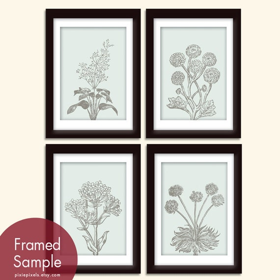 Wild Flowers Botanical Prints (Series C)-Set of 4 - Art Prints (Featured in Pale silver sage and Charcoal)