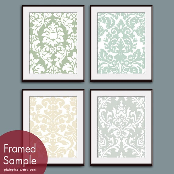 Damask Patterns (Series A) -Set of 4 - Art Prints - Featured in Veranda, Silver Sage, Cream and Fog Grey