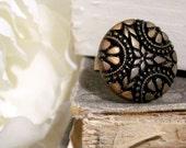 Bronze Goddess Vintage Button Ring