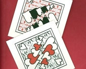 3-table tallies, card suits with filigree backgrounds ----- my original designs