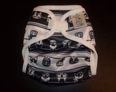 Black And White Owl Polyester PUL Cloth Diaper Cover With Aplix Hook & Loop Or Snaps Pick Size XS/Newborn, Small, Medium, Large, or One Size