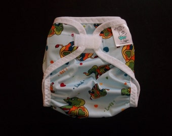 Peace Elephant Polyester PUL Cloth Diaper Cover With Aplix Hook & Loop Or Snaps You Pick Size XS/Newborn, Small, Medium, Large, or One Size