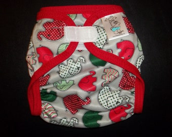 Christmas Elephant Polyester PUL Cloth Diaper Cover With Aplix Hook&Loop Or Snaps You Pick Size XS/Newborn, Small, Medium, Large, One Size