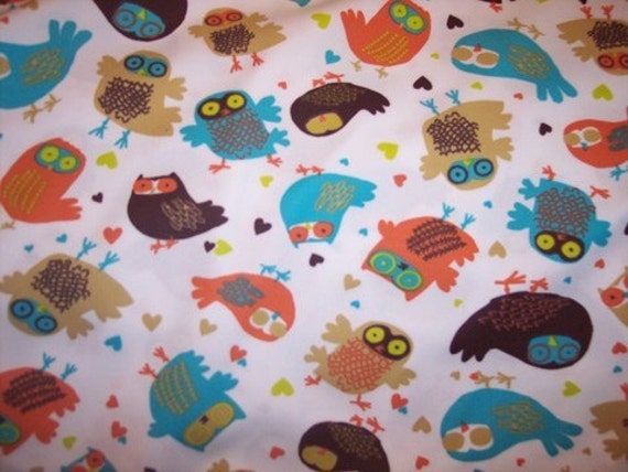 Retro Owls Polyester PUL Diaper Cut 18 in X 20 in