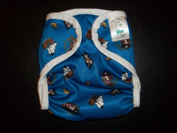 Pirate Monkey Polyester PUL Cloth Diaper Cover With Aplix Hook & Loop Or Snaps Pick Size XS/Newborn, Small, Medium, Large, or One Size
