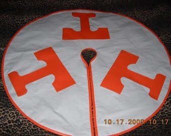 Rocky Top Tennessee Orange and White Christmas Tree Skirt 48 inch