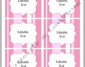 """INSTANT DOWNLOAD Printable EDITABLE Pink Stripe Tags/ Stickers/ Labels 3.75"""" X 3"""" Perfect for Labels, Buffet or Food Cards, Favor Tags"""