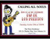 Day of The Dead Dias de los Muertos Rock Star Personalized Printable Digital DIY Invitation or Post Card ( Any Wording or Text)