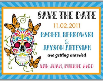 Sugar Skull and Butterflies Day of The Dead Dias de los Muertos Personalized Printable Digital DIY Invitation or Post Card ( Any Text)