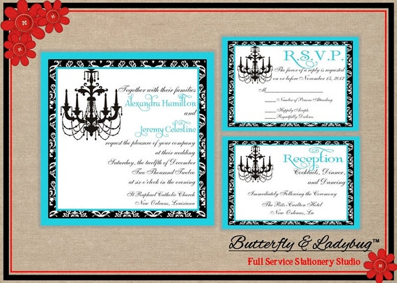 Printable Wedding Invitation Suite- Chandelier and Black Damask (DIY Press-Ready DIGITAL File)- Includes Invitation w/ 2 Enclosure Cards