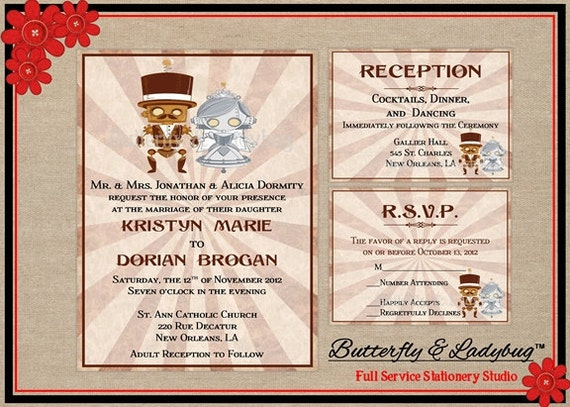 Ready To Print Wedding Invitations: Printable Steampunk Robot Couple Wedding By