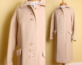 c l e a r a n c e Vintage 1950s or 60s Long Winter Coat in Off White Ivory Wool