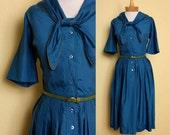ON SALE Vintage 1950s Short Sleeve Sailor Dress in Teal Blue Cotton Sateen