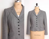1980s Puff Sleeve Blazer in Grey Wool - Womens L / XL