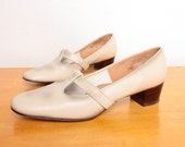 1960s T Straps in Ivory / Burnished Grey Vegan Faux Leather  - Size 7.5 Womens - Low Heel Perforated Brogues