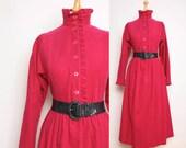 1980s Midi Dress - Bright Raspberry Corduroy by Laura Ashley - Womens S / M  - High Neck Button Up Shirtwaist Dress