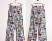 1970s Pants - High Waisted Wide Leg / Patchwork Plaid Cotton - Womens XS / S