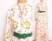 1960s Floral Maxi Dress / Sheer Ruffled Floral Stripes - Womens M