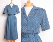 1980s Shirtwaist Maxi Dress / Cornflower Blue w/ White Polka Dots by Liz Claiborne - Womens M / L - Short Sleeve Cotton 80s Shirt Dress