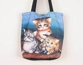 80s / 90s Kitten Tote / Roomy Carryall Bag w/ Adorable Kittens Print