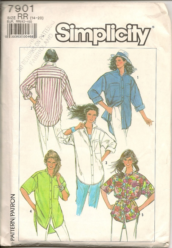 UNCUT Vintage Simplicity Sewing Pattern 7901 Misses Easy to Sew Loose Fitting Shirt
