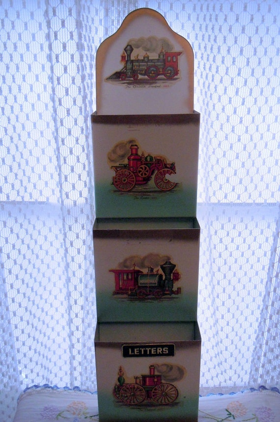 Vintage Metal Wall Pocket Letter Holder with Antique Train Decals