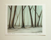 RESERVED for EVA Peaceful Clarity Art  Print winter trees snowy sky