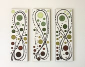 Serendipity in Greens and Browns original acrylic triptych painting