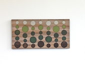 green and brown circles on woodgrain original art acrylic painting on thick canvas