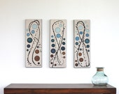 blue brown circles ivory original art abstract acrylic triptych painting