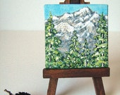 pine trees mountains snow small original painting with wooden easel