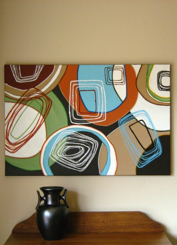 Squaring the Circle large original geometric abstract painting