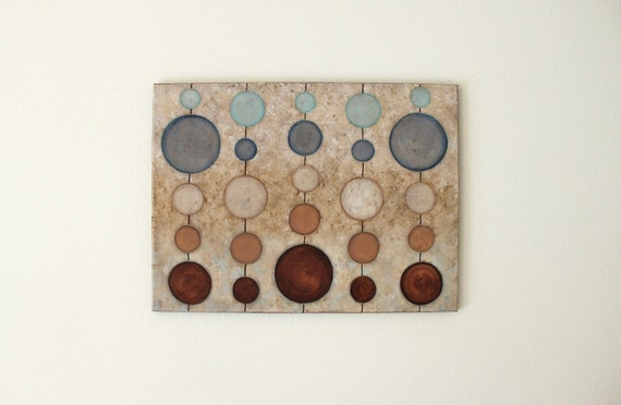 Abacus  Sand and Sea  original art acrylic painting on canvas  18 x 24 blue brown circles modern