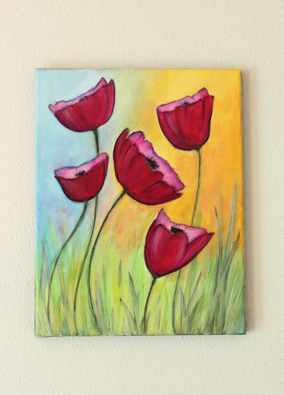 Raspberry Tulips Original Floral Acrylic  Painting on 11x14 Canvas