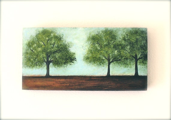 green trees nature landscape original art acrylic painting on wood robins egg blue brown