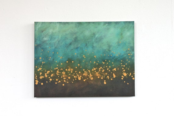 teal blue  turquoise aqua brown mustard yellow modern art mid century original acrylic painting on canvas