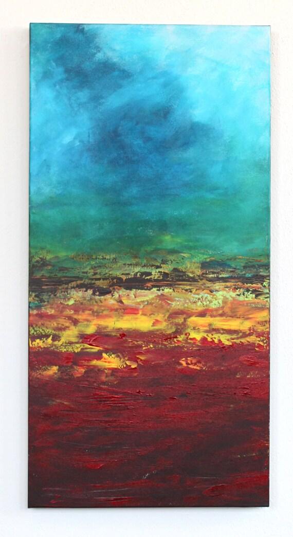 turquoise sky red lava sunset Hawaii horizon landscape original art acrylic painting on thick 18 x 36 canvas