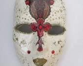 Mask - Venetian, Mardi Gras, Carnivale Style Paper Mache - Ivory with Red Flower