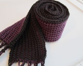 Crochet Scarf - Purple and Black - Reversible