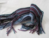 Crochet Scarf - Purple, Blue, Turquiose and Black Stripes with Fringe