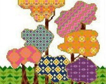 Calico Forest Cross Stitch or Needlepoint Pattern