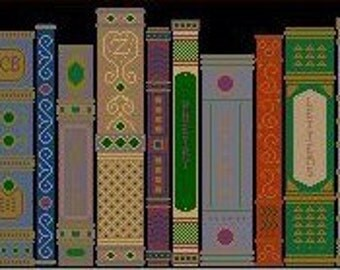 Needlepoint or Cross Stitch Pattern Design Chart - The Book Shelf