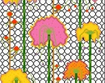 Needlepoint or Cross Stitch Pattern Design Chart - Trellis and Flowers