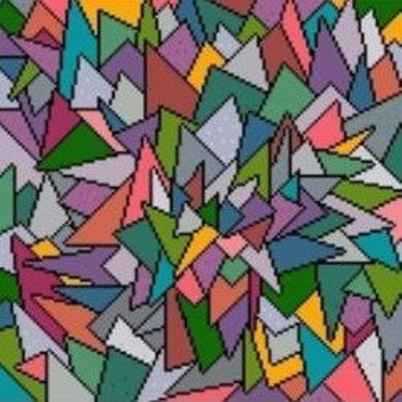 Needlepoint or Cross Stitch Pattern Design Chart - Fractured Geometrical Multi-Colored Triangles Shards
