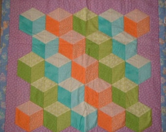 Tumbling Block Quilt or Wall Hanging Baby Blanket Nursery Bedding