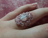 Pink Ring Jewelry Beaded Victorian Style Size 7