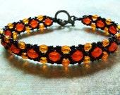 Halloween Bracelet Pumpkin Orange Beaded Bracelet Orange Black Beaded Jewelry Beadwork Bracelet