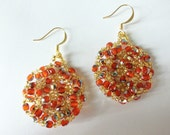 Orange Drop Earrings Gold Orange Jewelry Orange Beaded Gold Drop Earrings Seed Bead Bead Weaving Beadwork Circle