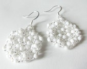 White Snowflake Earrings Winter Jewelry Sterling Silver Earwires Beaded